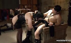 Hardcore fuck tied down on the dungeon table