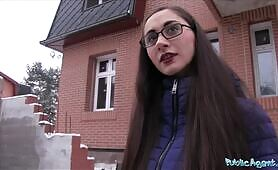 Public Agent young Russian in Glasses Fucking a gigantic cock