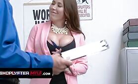 massive titties MILF Bianca Burke Caught Shoplifting Decides To Have Sex With Security Guard