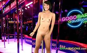 Super sexy Thai woman auditions for a job at the gogo
