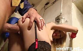 Tiny titted yellow-haired gets arse plowed by horny plumber