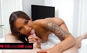 Tanned hottie April Olsen Lets Stepbrother Smash Her Juicy pussy